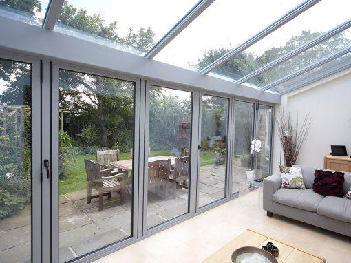 Cobertura exterior Alumínio e vidro